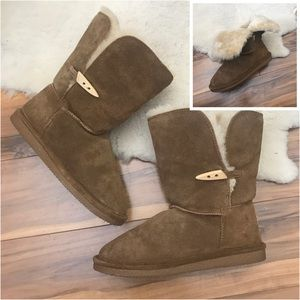 Bearpaw Brown Suede Slip On Boots 2-Way Size 6